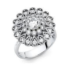 Flower Design Diamond Ring White Flower Design Round Cut Cz Engagement In 14k Ring 69 Off Retail