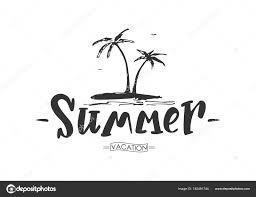 手書き落書きのヤシの木が夏のレタリング ストックベクター