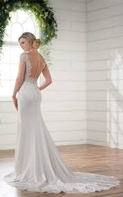 off the shoulder wedding gown with lace train essense of australia