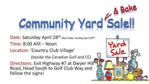 Country Club Village Community Garage Sale And Bake Sale On