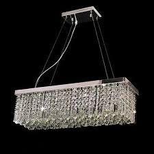 luxury rectangular crystal glass silver chrome finish 5 lights chandelier