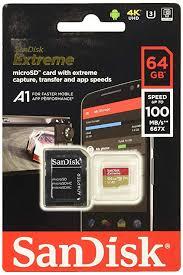 Sandisk Extreme 64gb Microsd Microsdhc Microsdxc 4k Uhd Sdsqxa2 064g Gn6ma A1 A2