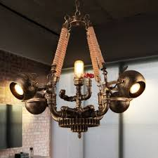 industrial 5 light chandelier with valve in pipe style antique bronze