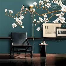 Custom Behang Muurschildering Hand Geschilderd Chinese Stijl Bloemen