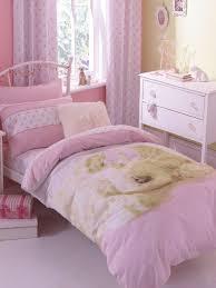 girls pink polka dot cute puppy dog reversible duvet cover set bedding