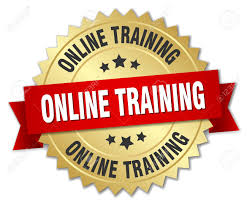Online Badge Online Training 3d Gold Badge With Red Ribbon