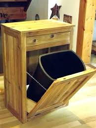 Tilt Out Bin Distressed Reclaimed Wood Crate Trash Cabinet Unfinished  Double Storage Doubl  Hidden  Can Insert A73