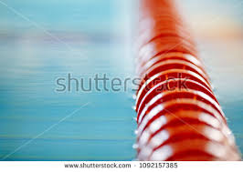 closeup image of red line in swimming pool 1092157385