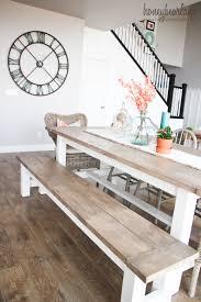 Dining room table bench Round Diy Farmhouse Table And Bench Honeybear Lane Diy Farmhouse Table And Bench Honeybear Lane