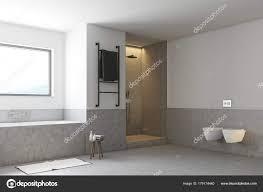 Graue Badezimmer Toiletten Und Dusche Stockfoto Denisismagilov