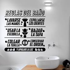 Small Picture Aliexpresscom Buy Art Design Bathroom rules in Spanish kids