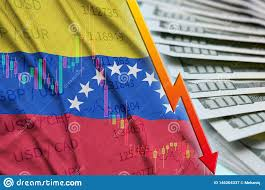 Venezuela Flag And Chart Falling Us Dollar Position With A