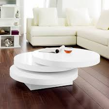 dwell triplo round gloss swivel coffee table white