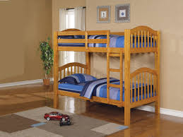 Painted Furniture Bedroom Brown Oak Bunk Bed With Ladder And Comforter Plus Bed Linen As