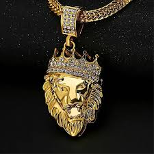 product images gallery generic new men s 18k gold diamond crown lion head pendant necklace hiphop accessories