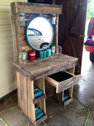 wood makeup vanity inside made from reclaimed wooden pallets design 18