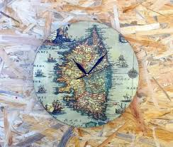 wall clock valentine gift for man decoupage clock wooden clock vintage style clock old map clock rustic style clock shabby chic clock
