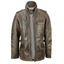 details about xposed mens real leather vintage smart casual brown military style field jacket