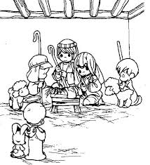 Precious Moments Nativity Coloring Sheet Christmas Nativity