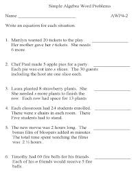 word problems with variables worksheets