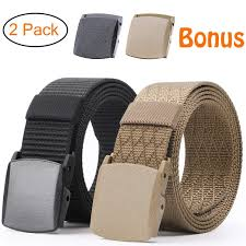<b>Nylon Military Tactical</b> Men Belt 2 Pack Webbing Canvas <b>Outdoor</b> ...