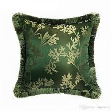 dark green vintage interior plant decorative pillow case square 45x45cm jacquard woven leaf floor sofa chair home living room cushion cover patio lounge
