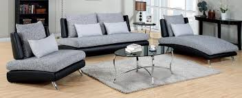 cm6111 3pc 3 pc saillon two tone fabric and black vinyl armless sofa chair and chaise