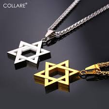 2019 collare magen star of david pendant israel chain necklace women stainless steel judaica gold black color jewish men jewelry p813 from crazyxb