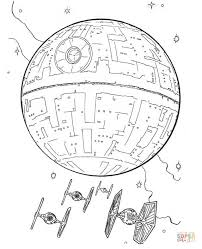 Small Picture Death Star and Tie Fighters coloring page Free Printable