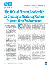 Pdf) The Role Of Nursing Leadership In...