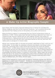 makeup artist biography exles writing a make up standart quintessence sle exles large