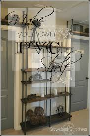 Creative diy pipe shelves design ideas Lovelyving Pvc Pipe Shelf Homemydesigncom Pvc Pipe Shelf Sawdust Stitches