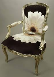 beautiful chair in black fabric with white flower lovely idea more