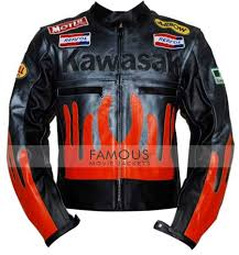 1 review for kawasaki black orange biker leather jacket