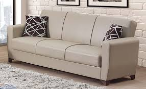 yonkers cream leather sofa bed