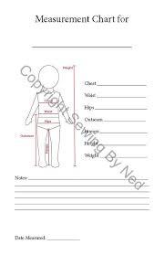 Measurement Chart Child Sewing Seamstress Chart Pdf Printable Costume Design