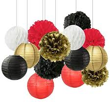 Flower Paper Lanterns Graduation Party Decorations Black White Red Gold Tissue Paper Pom Pom Paper Flower Paper Lantern Tissue Ball Decorations For Baby Shower Nursery