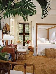 ... White Tropical Wall Bedroom Decoration With Indoor Plants ...