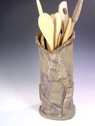 pottery utensil holder ceramic kitchen utensil holder tall stoneware vase or utensil holder hand built pottery pottery utensil holder