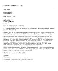 Cover Letter For Esl Teacher Teacher Cover Letter Resume Letter