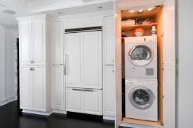 Interior:Stunning White Kitchen Design With Hidden Laundry Room And Black  Flooring Ideas Love the