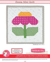 Zinnia Downloadable PDF Mini Quilt Pattern Bee in my Bonnet | Fat ... & Hover to zoom Adamdwight.com