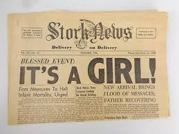 Stork News Paper December 1958 Its A Girl Novelty Birth