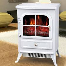 details about modern white 1850w free standing electric stove fireplace fire flame heater new