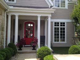 Grayish House Paint With Red Oor And White Stripe Painting Ideas