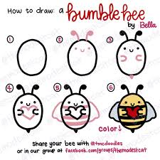 how to draw a cute bee easy doodle tutorial with bella at themodestcat