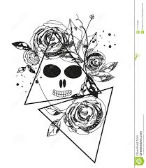 Abstract Rose Silhouette Skull Triangle Geometric Rose Summer