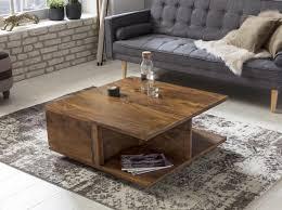 Couchtisch Massiv Holz Sheesham Wohnzimmer Tisch Design Dunkel Braun