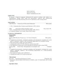 Resume Cover Letter Speech Language Pathologist Zonazoom Com