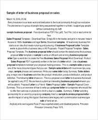 6 Sample Sales Proposal Letters Pdf Word